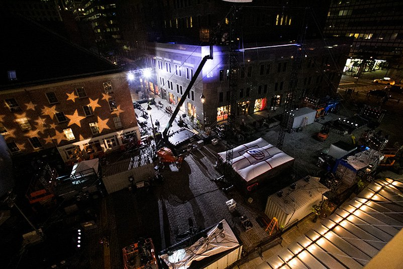 Live production crew and equipment for Impractical Jokers television show.